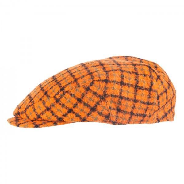 FeineHueteBerlin Schiebermuetze Paperboy Retro Orange Kariert exklusiv online kaufen Schurwollmix