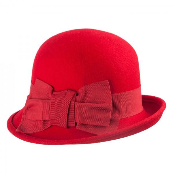 Bedacht Damen Glocke Cloche Asymetrique Rot 20erJahre online kaufen Wollfilz