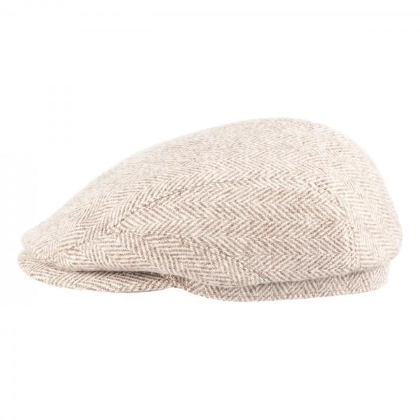 FeineHueteBerlin Schiebermuetze Mr-Smart Beige Fischgraet Damen Herren Flatcap online kaufen Wolle