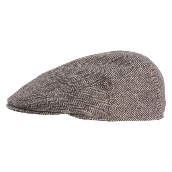 FeineHuete Flatcap Wolle Maceo Braun-Grau Fischgraet