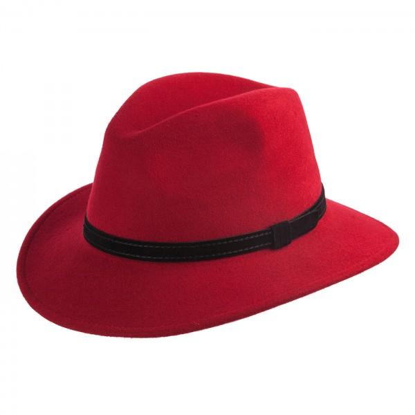 FeineHueteBerlin Traveller Italiener Rot Garnitur Leder Schwarz rollbar wasserabweisend Outdoorhut Wollfilz